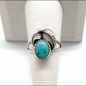 Estate Vtg Sterling Navajo Leaf Turquoise Ring
